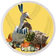 Thanksgiving Indian Ducks Round Beach Towel