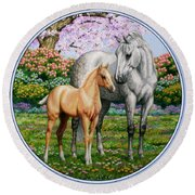 Spring's Gift - Mare And Foal Round Beach Towel by Crista Forest