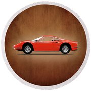 Ferrari Dino 246 Gt Round Beach Towel by Mark Rogan