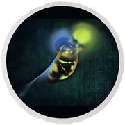 Horus Egyptian God Of The Sky Round Beach Towel by Menega Sabidussi