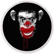 Evil Monkey Clown Round Beach Towel
