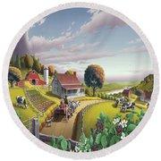 Appalachian Blackberry Patch Rustic Country Farm Folk Art Landscape - Rural Americana - Peaceful Round Beach Towel