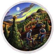Autumn Farmers Shucking Corn Appalachian Rural Farm Country Harvesting Landscape - Harvest Folk Art Round Beach Towel