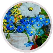 Flowers In A White Vase Round Beach Towel
