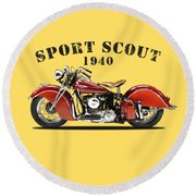 Indian Sport Scout 1940 Round Beach Towel