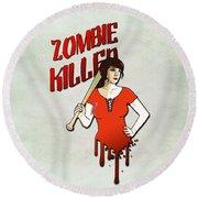 Zombie Killer Round Beach Towel by Nicklas Gustafsson