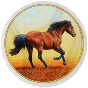 Running Horse - Evening Fire Round Beach Towel by Crista Forest