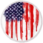 American Spatter Flag Round Beach Towel