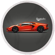 The Lamborghini Aventador Round Beach Towel