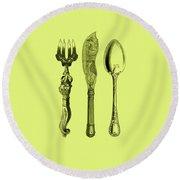Vintage Cutlery 4 Round Beach Towel