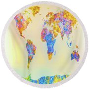 Abstract Earth Map 2 Round Beach Towel by Bob Orsillo