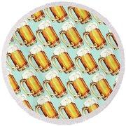 Beer Pattern Round Beach Towel