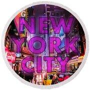 New York City - Color Round Beach Towel