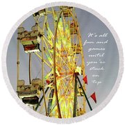 Wheel Of Fortune With Phrase Round Beach Towel