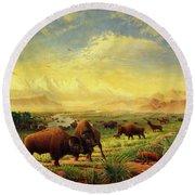 Buffalo Fox Great Plains Western Landscape Oil Painting - Bison - Americana - Historic - Walt Curlee Round Beach Towel