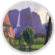Mountains Waterfall Stream Western Mountain Landscape Oil Painting Round Beach Towel