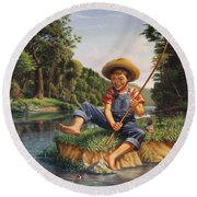 Boy Fishing In River Landscape - Childhood Memories - Flashback - Folkart - Nostalgic - Walt Curlee Round Beach Towel