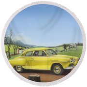 Studebaker Champion Antique Americana Nostagic Rustic Rural Farm Country Auto Car Painting Round Beach Towel