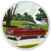 1953 Nash Rambler Car Americana Rustic Rural Country Auto Antique Painting Red Golf Round Beach Towel