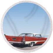 1957 De Soto Car Nostalgic Rustic Americana Antique Car Painting Red  Round Beach Towel