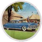 1951 Hudson Hornet Fair Americana Antique Car Auto Nostalgic Rural Country Scene Landscape Painting Round Beach Towel