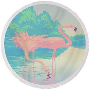 abstract Pink Flamingos retro pop art nouveau tropical bird 80s 1980s florida painting print Round Beach Towel