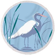 abstract Egret graphic pop art nouveau 1980s stylized retro tropical florida bird print blue gray  Round Beach Towel