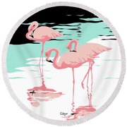 Pink Flamingos Tropical 1980s Abstract Pop Art Nouveau Graphic Art Retro Stylized Florida Print Round Beach Towel