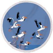 abstract Pelicans seascape tropical pop art nouveau 1980s florida birds large retro painting  Round Beach Towel
