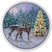 Whitetail Christmas Round Beach Towel by Crista Forest