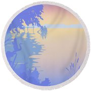 abstract tropical boat Dock Sunset large pop art nouveau retro 1980s florida landscape seascape Round Beach Towel