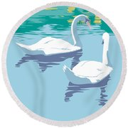 Abstract Swans Bird Lake Pop Art Nouveau Retro 80s 1980s Landscape Stylized Large Painting  Round Beach Towel