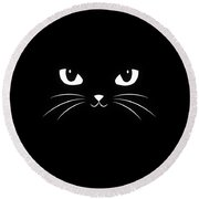 Cute Black Cat Round Beach Towel