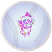 Cool And Trendy Pink Watercolor Skull Round Beach Towel