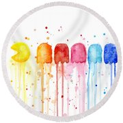 Pacman Watercolor Rainbow Round Beach Towel