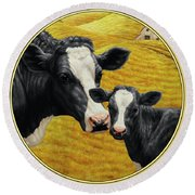 Holstein Cow And Calf Farm Round Beach Towel by Crista Forest