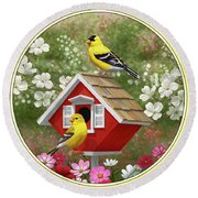 Red Birdhouse And Goldfinches Round Beach Towel by Crista Forest