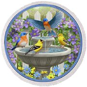 Fountain Festivities - Birds And Birdbath Painting Round Beach Towel by Crista Forest