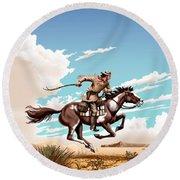 Pony Express Rider Historical Americana Painting Desert Scene Round Beach Towel