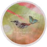 Elements Of Nature - Verse Round Beach Towel