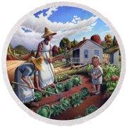 Family Vegetable Garden Farm Landscape - Gardening - Childhood Memories - Flashback - Homestead Round Beach Towel