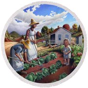 Family Vegetable Garden Farm Landscape - Gardening - Childhood Memories - Flashback - Homestead Round Beach Towel