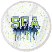 Seattle Watercolor 12th Man Art Painting Space Needle Go Seahawks Round Beach Towel