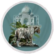 White Tiger And The Taj Mahal Image Of Beauty Round Beach Towel
