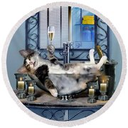 Funny Pet Print With A Tipsy Kitty  Round Beach Towel