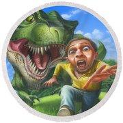 Tyrannosaurus Rex Jurassic Park Dinosaur - T Rex - Paleoart- Fantasy - Extinct Predator Round Beach Towel