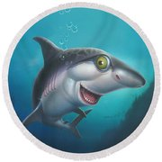 friendly Shark Cartoony cartoon under sea ocean underwater scene art print blue grey  Round Beach Towel