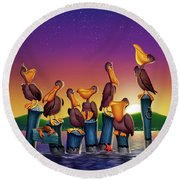 Pelican Sunset Whimsical Cartoon Tropical Birds Seascape Print Blue Orange Purple Yellow Round Beach Towel
