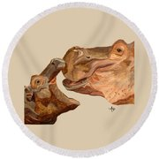 Hippos Round Beach Towel