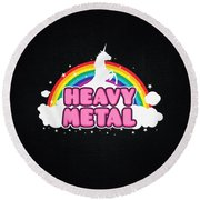 Heavy Metal Funny Unicorn  Rainbow Mosh Parody Design Round Beach Towel